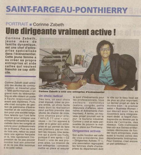 CZ Events, presse, 77, évènementiel, Dirigeantes Actives 77, Seine et Marne, Saint Fargeau Ponthierry, business